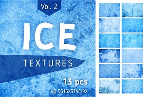 Abstract Blue Ice Textures Set