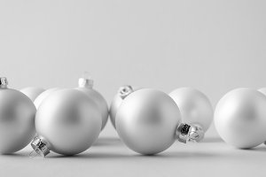 White Matte Christmas Ball Mock-Up -
