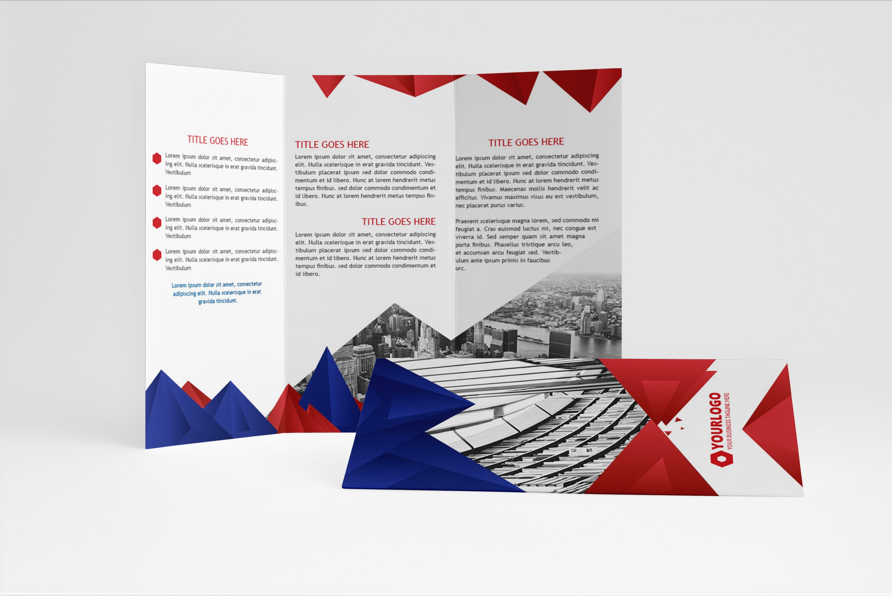 Elegant triagle trifold brochure brochure templates for Elegant brochure templates