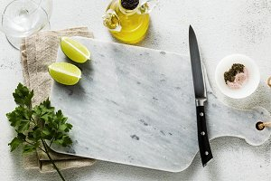 banner of marble cutting board, spic