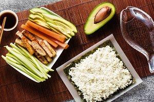 banner of cooking healthy vegan sush