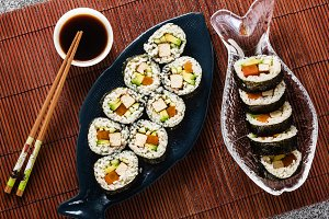 banner of vegan ready-made sushi on