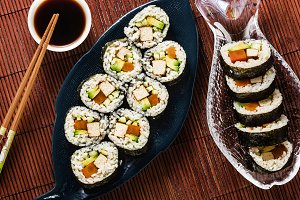 vegan ready-made sushi on the table