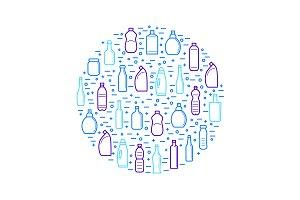 Bottles for Liquid Thin Line Set.