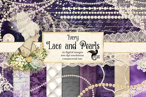 Ivory Lace & Pearls Graphics Pack