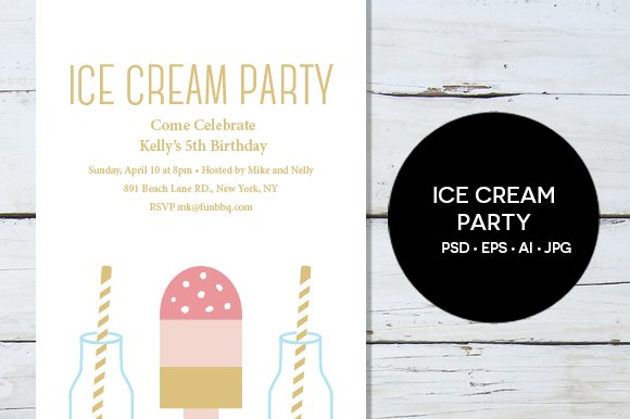 Ice Cream Party Invitation Invitation Templates Creative Market – Ice Cream Party Invitation