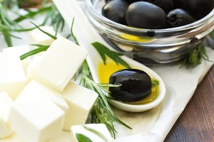 Greek feta cheese with black olives