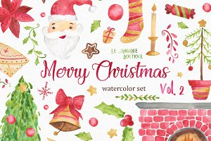 Merry Christams Watercolor Clipart