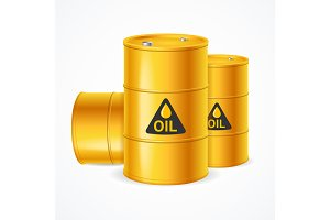 Realistic 3d Detailed Yellow Barrels