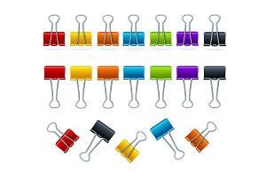 Realistic 3d Detailed Binder Clips