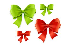 Realistic Green and Red Bow Set
