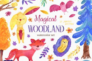 Magical Forest Watercolor Clipart