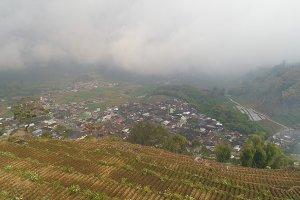 Mountain landscape farmlands and