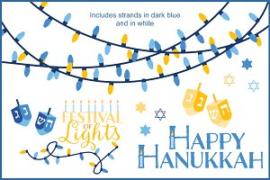 Hanukkah Lights Vector Clipart