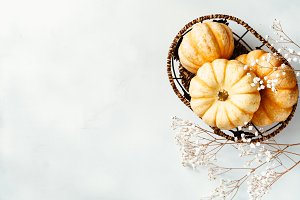Top view on a small pumpkins