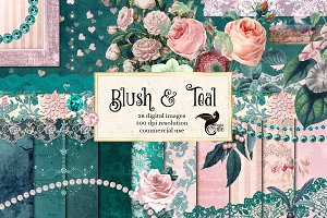 Blush and Teal Graphics Set