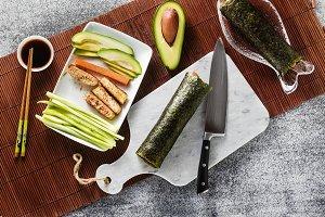 cooking healthy vegan sushi rolls on