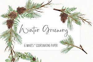 Winter Watercolor Greenery