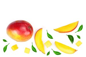 half of Mango fruit decorated with
