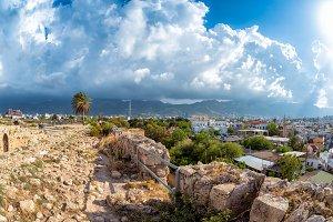View of a historic harbor of Kyrenia