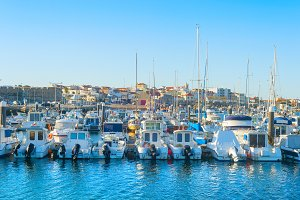 Yachts moored in Peniche marina
