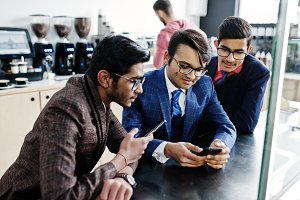 Group of three indian businessman in