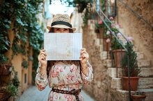 trendy tourist woman in old Europe t