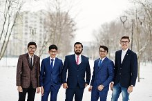Group of five indian businessman in