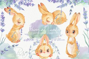 Bunny Lavender watercolor clipart ki