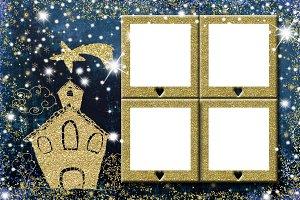 Christmas four photo frames greeting