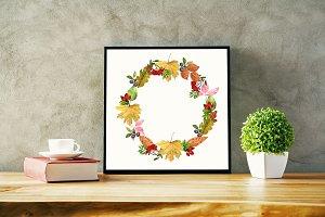 Watercolor clipart autumn leaves