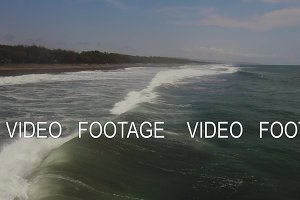 Water surface with big waves, aerial