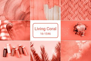 Creative collage in Living Coral