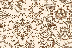 Henna mehndi lace seamless patterns