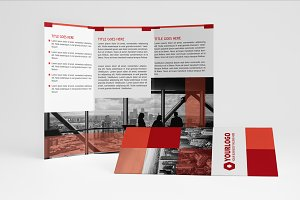 Square Red Trifold Brochure
