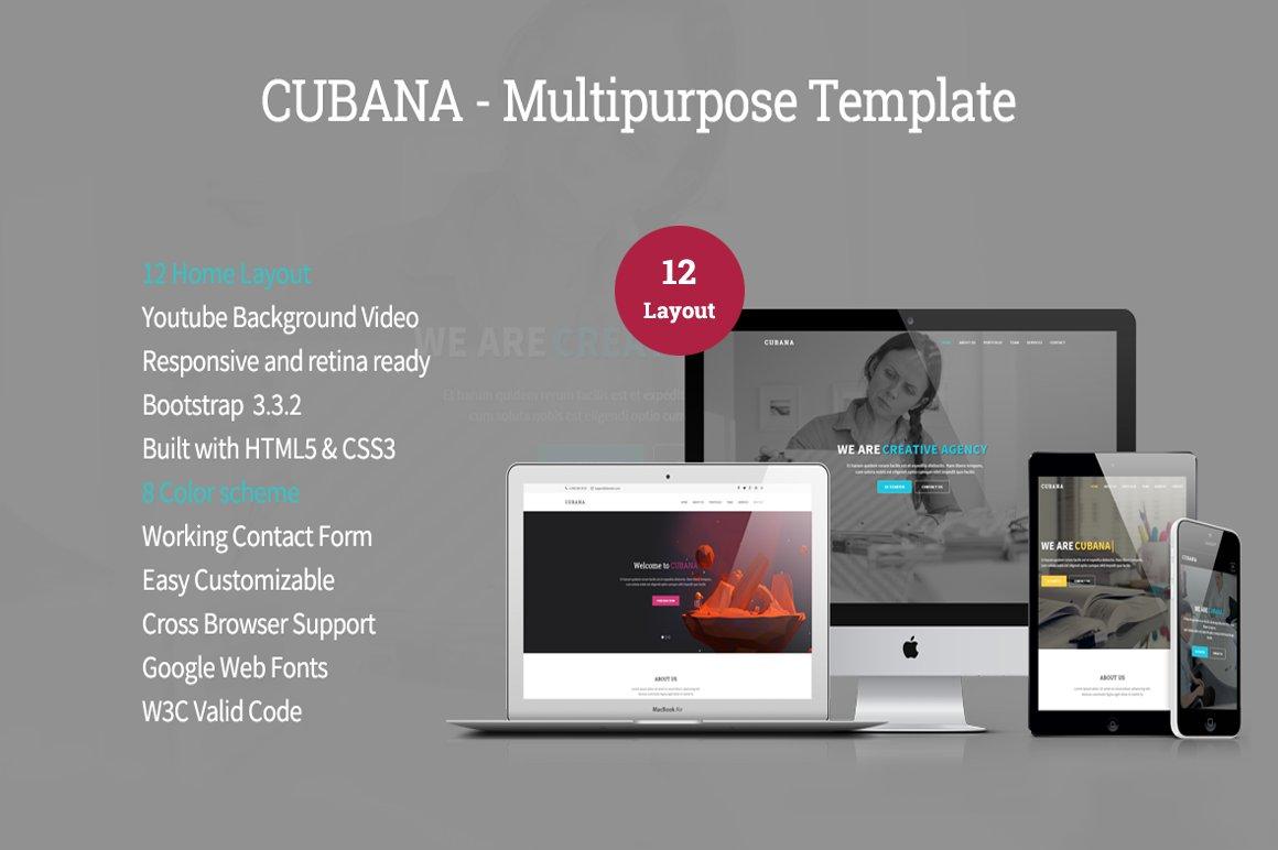 Cubana - Multipurpose Template ~ HTML/CSS Themes ~ Creative Market