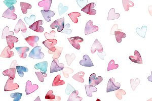 Watercolor Hearts Print