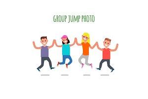 Group Jump Photo. Flat design