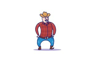 Hand Drawn Cowboy Character isolated