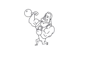 Cartoon Character Muscle man with