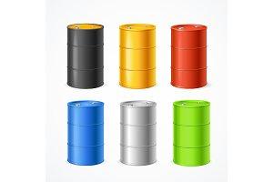 Realistic 3d Color Barrels Set. Vect