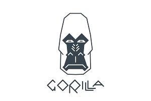Abstract Gorilla Head lineart on