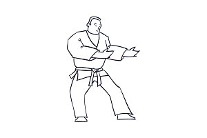 Hand Drawn Character Man in Kimono