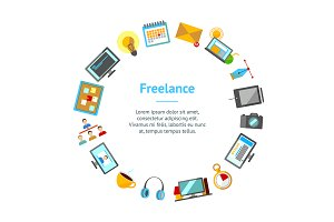 Cartoon Freelance Set. Vector