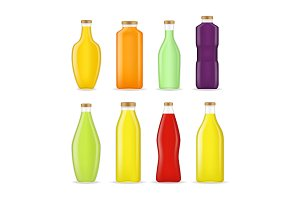 Realistic  3d Juice Bottle Glass Set