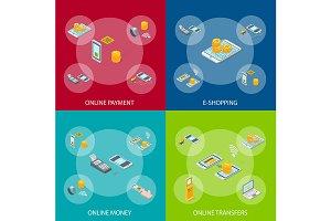 Online Payments 3d Set Isometric