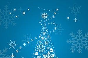 Christmas tree snowflake blue vector