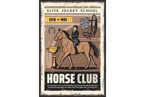 Elite jockey school. Horse rider