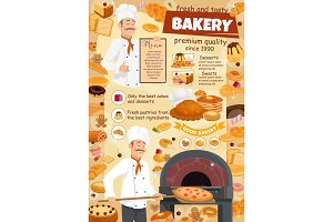 Bakery menu, baker and pizza