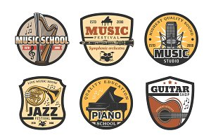 Musical instruments icons, music